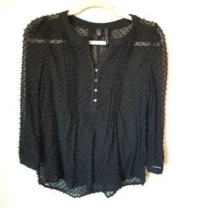 MANGO - basics black plumeti silk blend